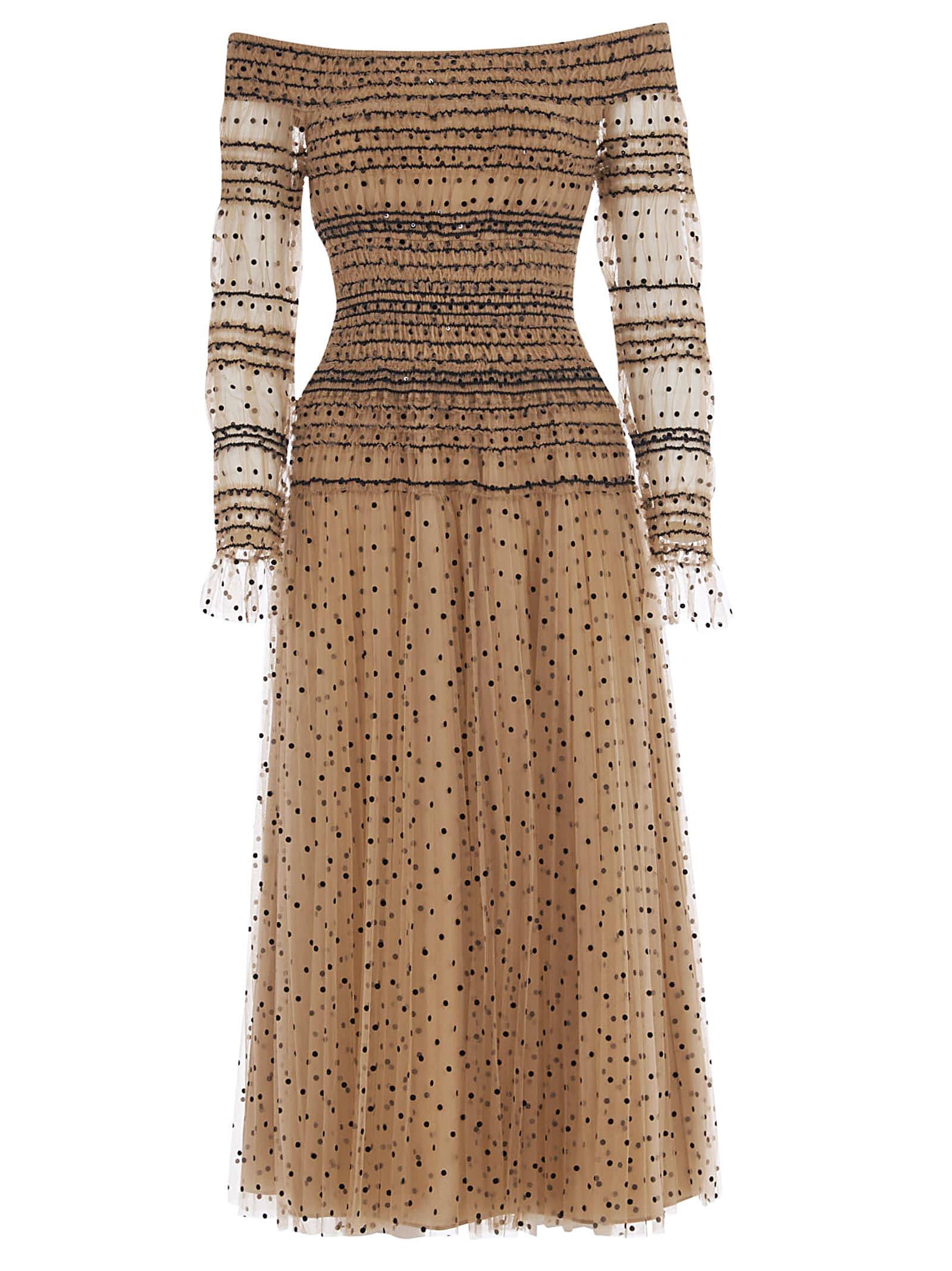 Buy self-portrait Shirred Polka Dot Off-shoulder Midi Dress online, shop self-portrait with free shipping