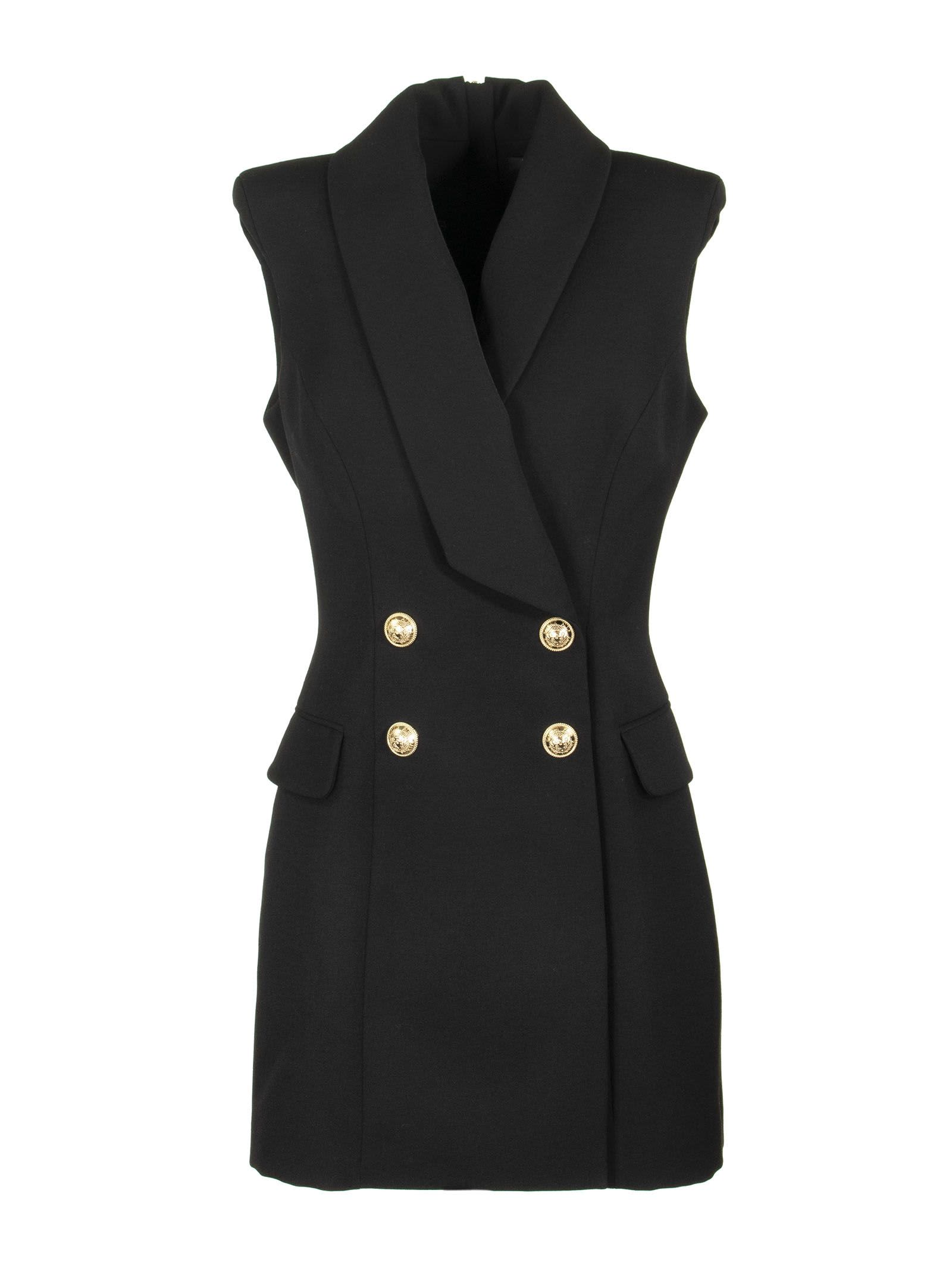 Buy Balmain Double-breasted Sleeveless Dress Black online, shop Balmain with free shipping