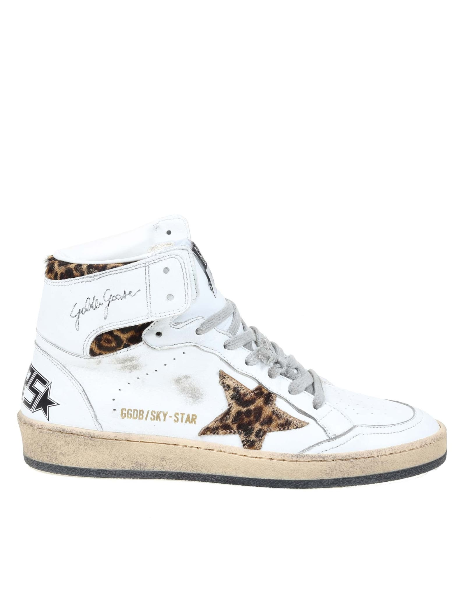Golden Goose Sky Star Sneakers In Leather With Horse Star