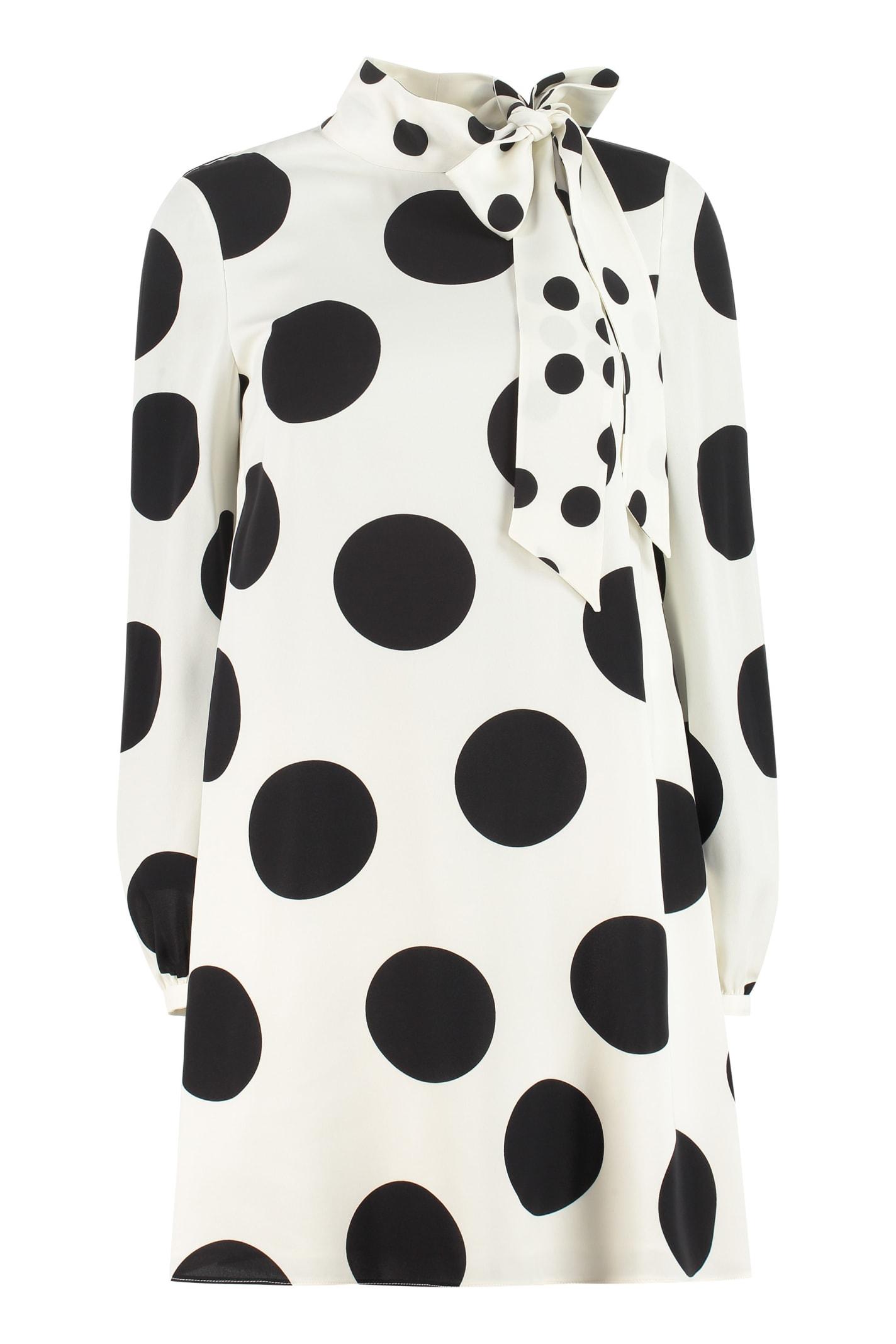 Valentino Polka-dot Print Silk Mini Dress