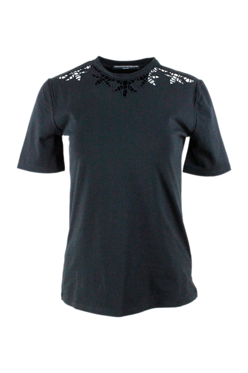Ermanno Scervino SHORT SLEEVE CREW NECK T-SHIRT WITH EMBROIDERY