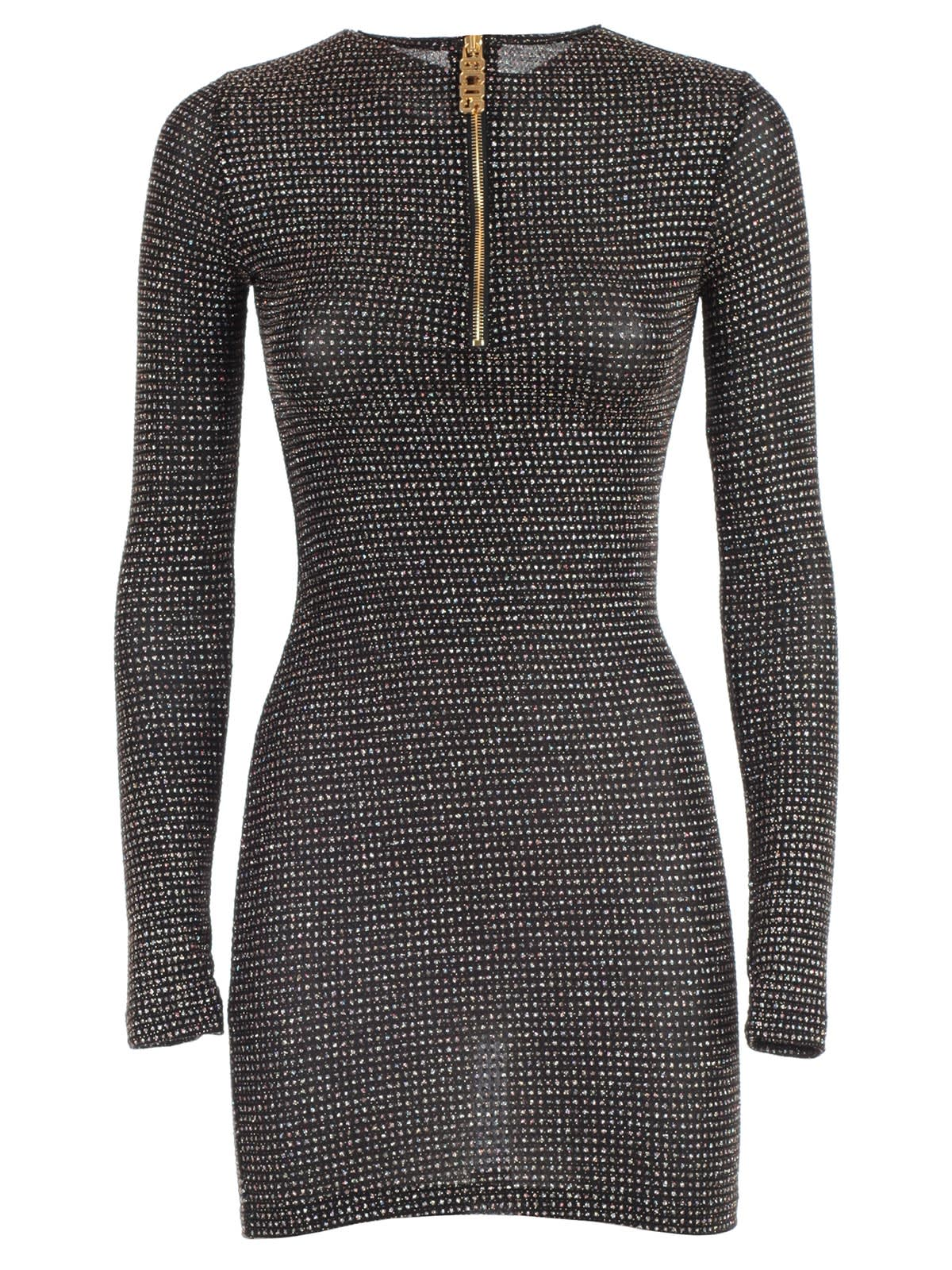 GCDS Dress L & s Skin Spark Lurex W & zip
