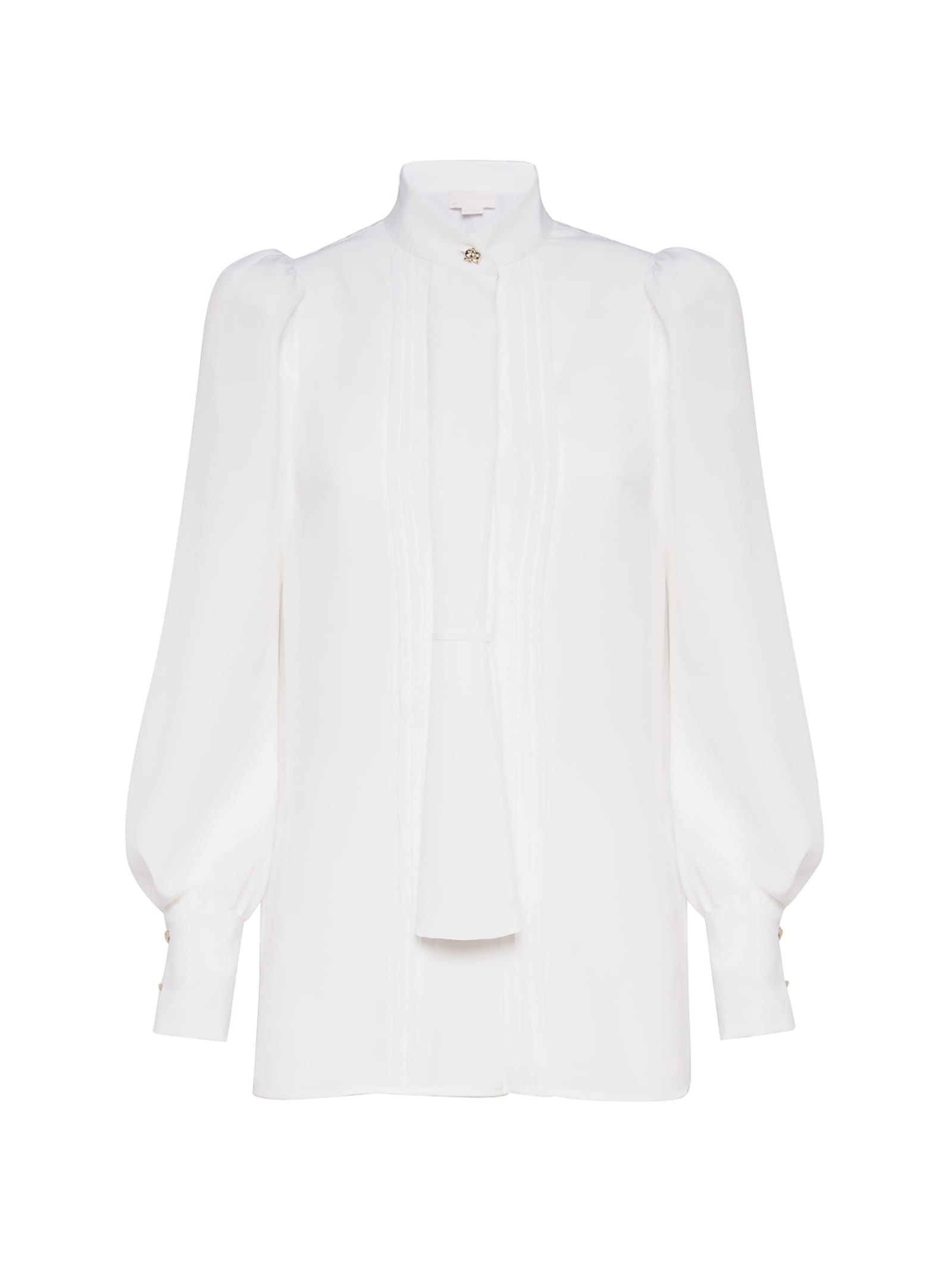 White Crinkled Shirt With Puffball Sleeves