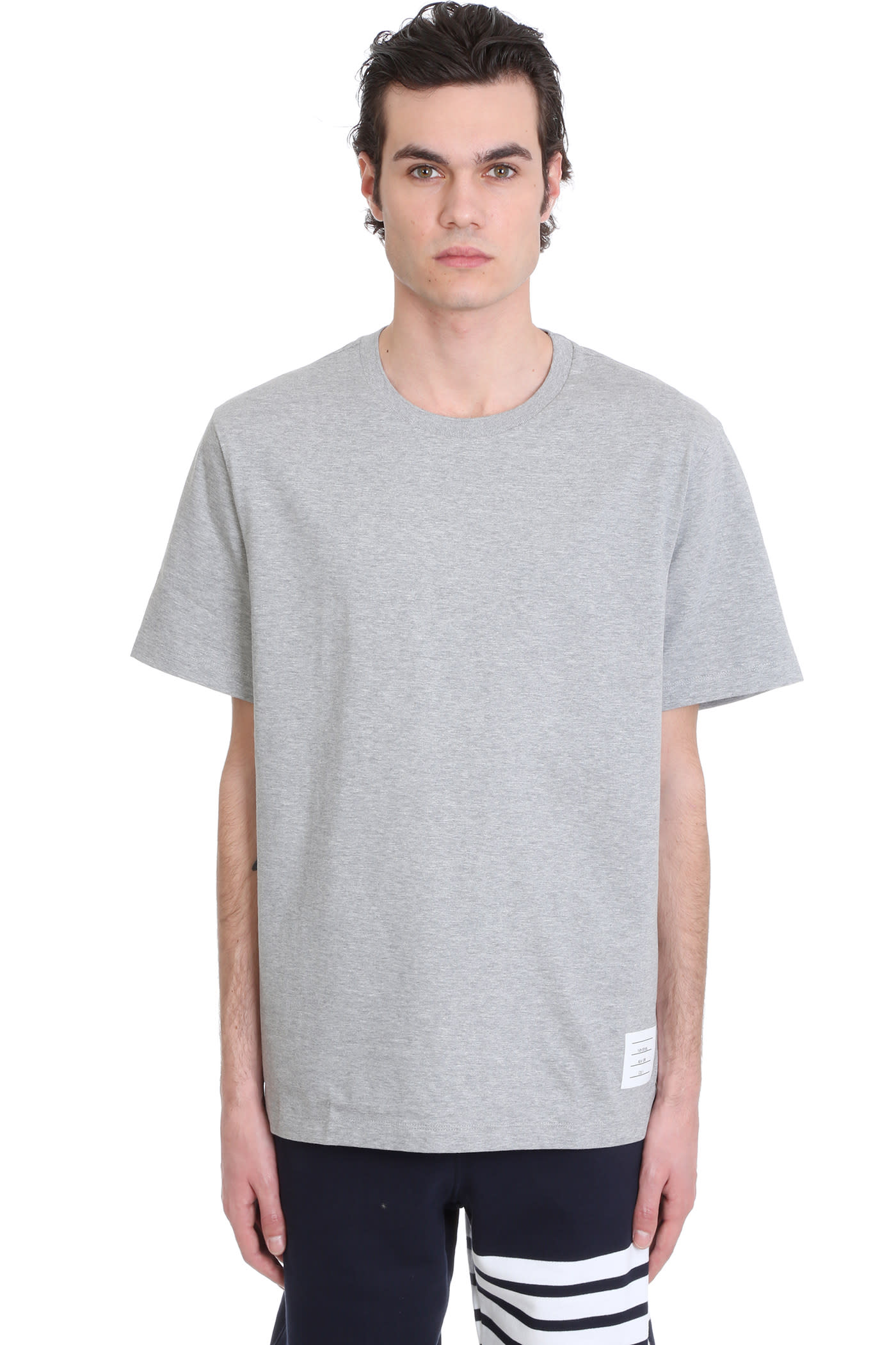 Thom Browne T-SHIRT IN GREY COTTON