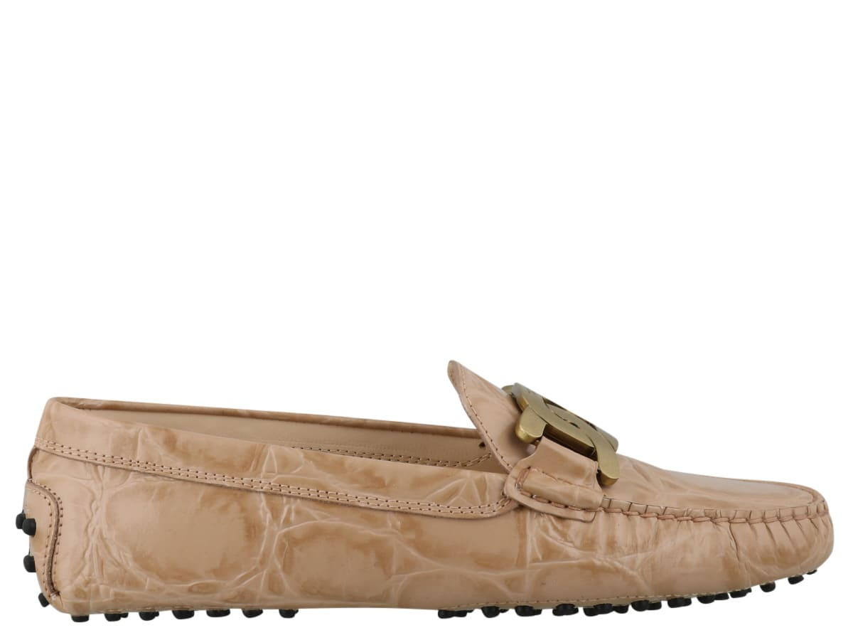 woman loafers, snake effect, chain in the front - Composition: 100% Calf Leather/ Rubber Sole