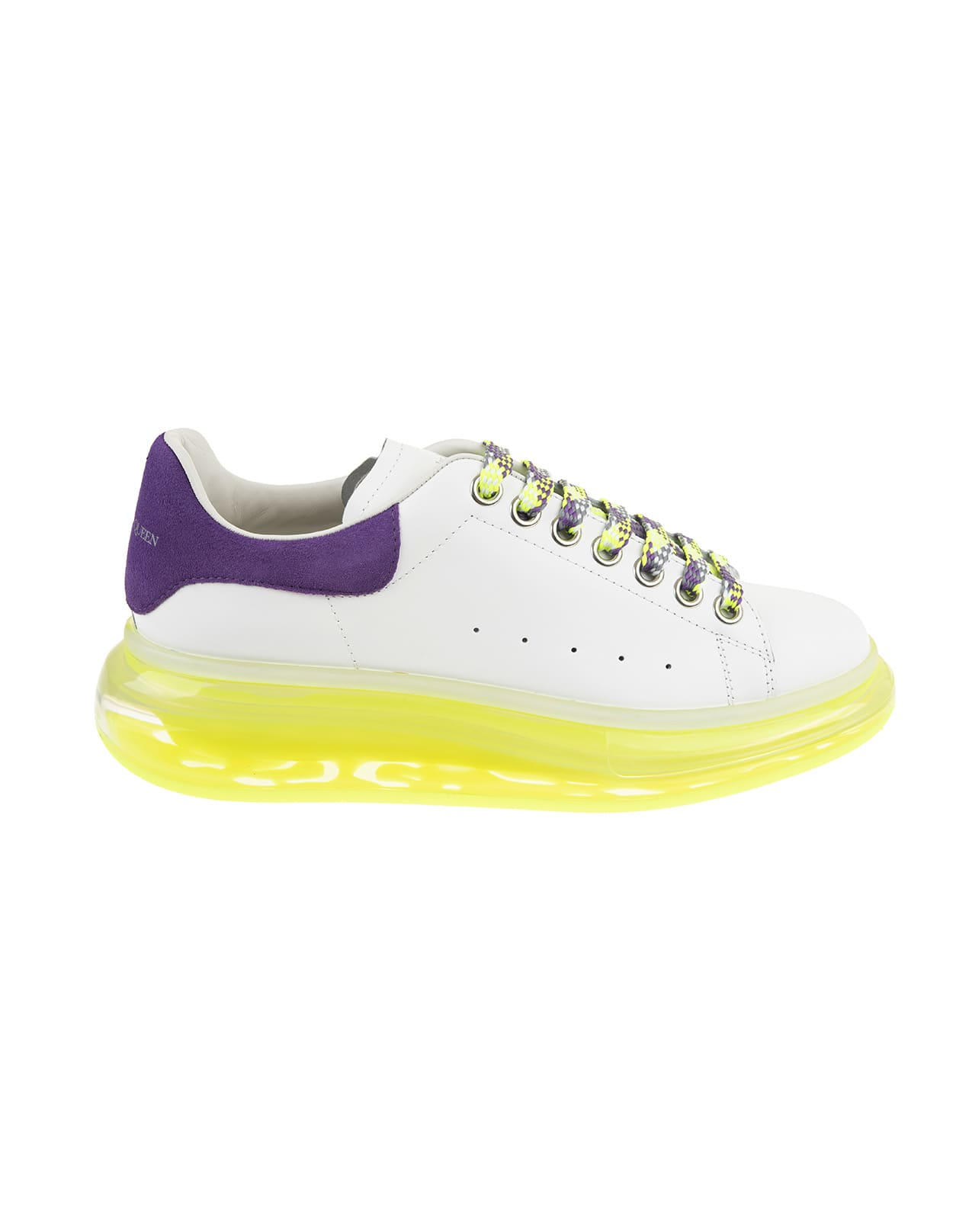 Alexander McQueen Woman White, Purple And Yellow Oversize Sneakers
