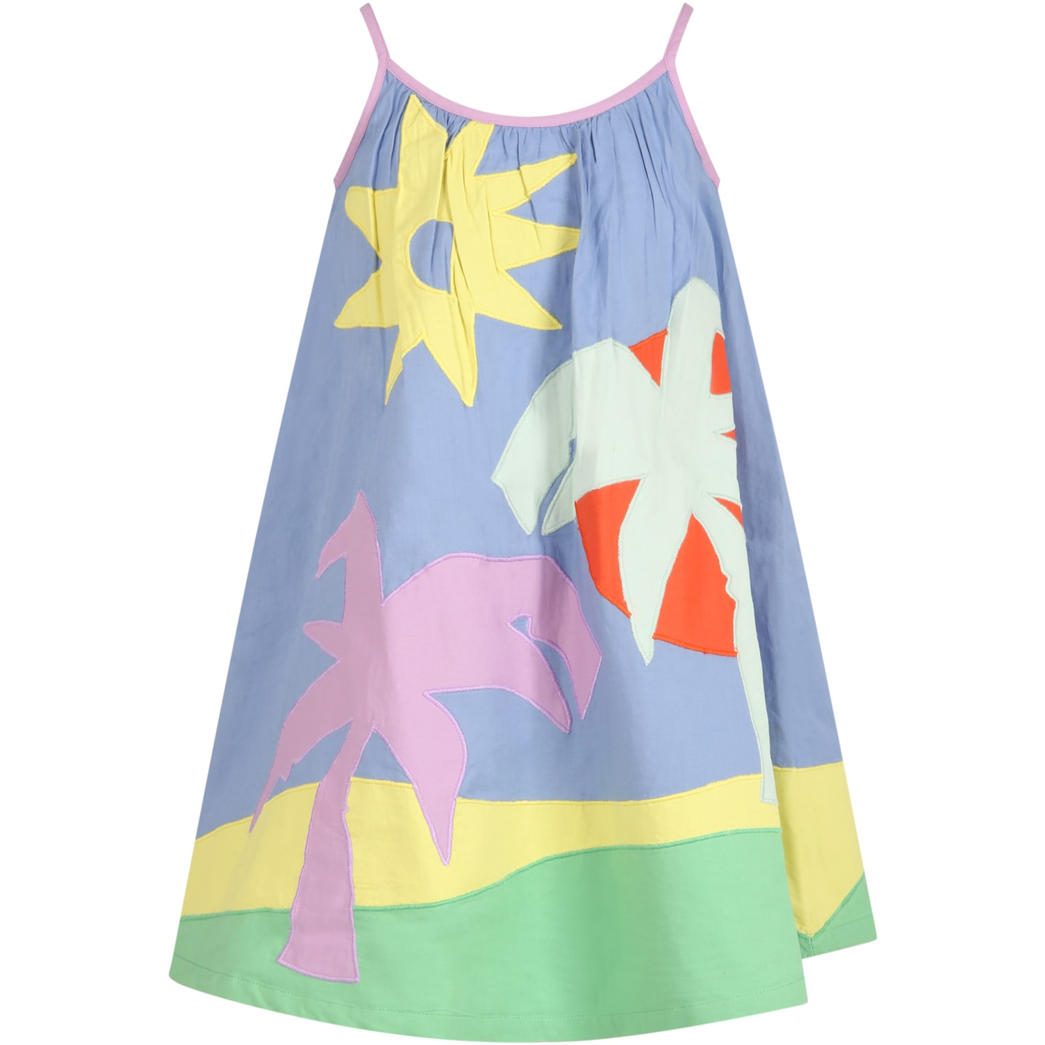 Buy Stella McCartney Mulitcolor Dress For Girl With Palms online, shop Stella McCartney with free shipping
