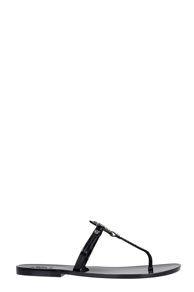 Tory Burch Mini Miller Flats In Black Rubber/plasic