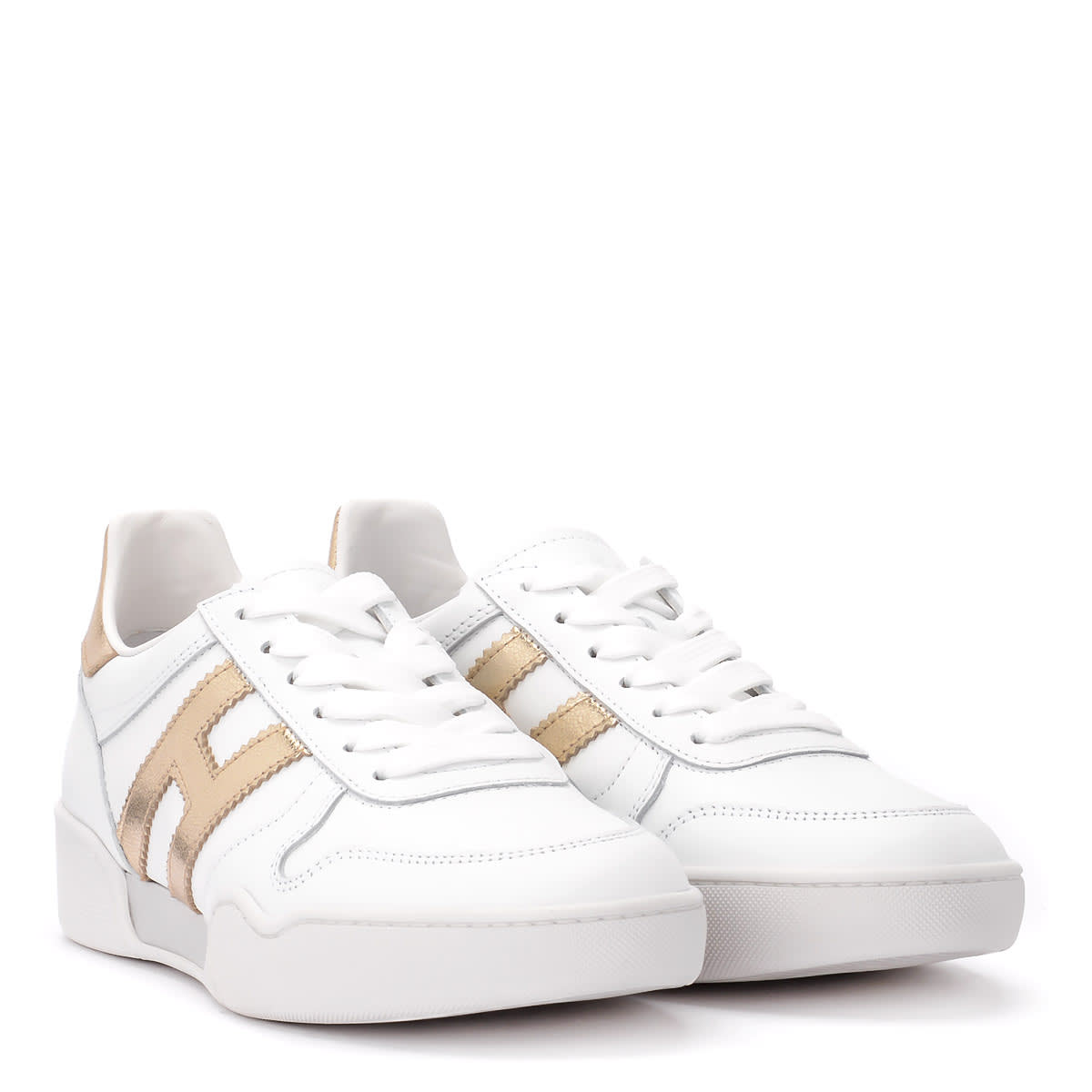Hogan H357 white and gold leather sneaker.