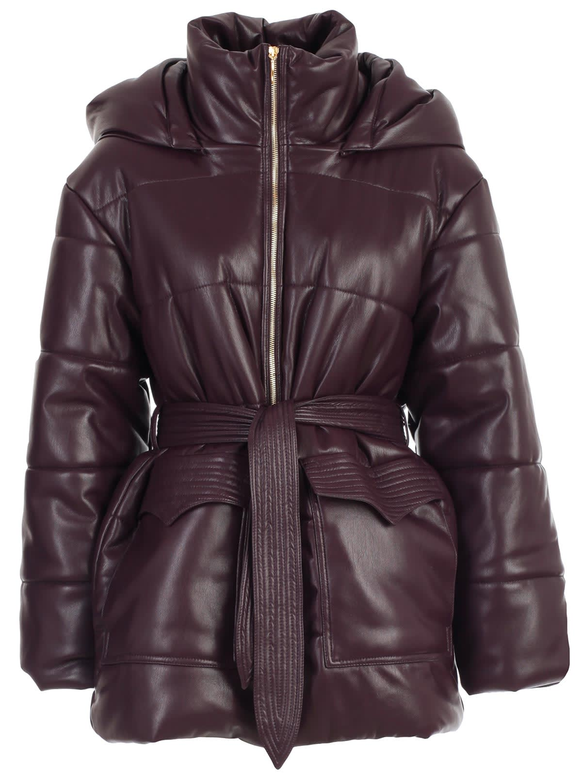 Photo of  Nanushka Padded Jacket Vegan Leather W/hood- shop Nanushka jackets online sales