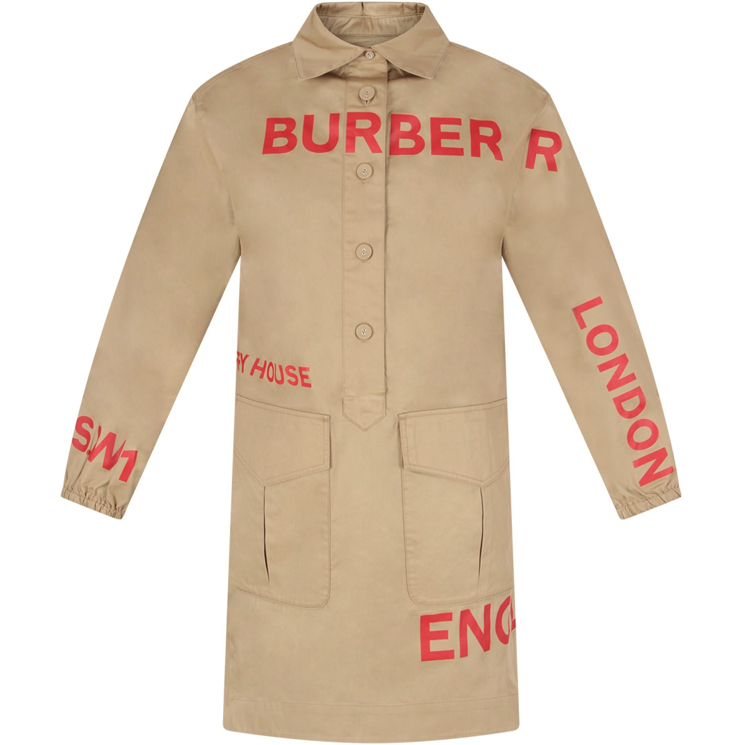 Burberry Beige Girl Dress With Red Logo And Writing