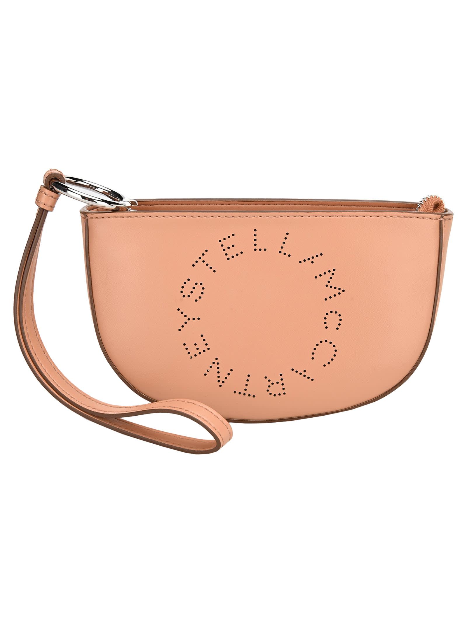 Stella Mccartney Logo Marlee Clutch Bag In Camel