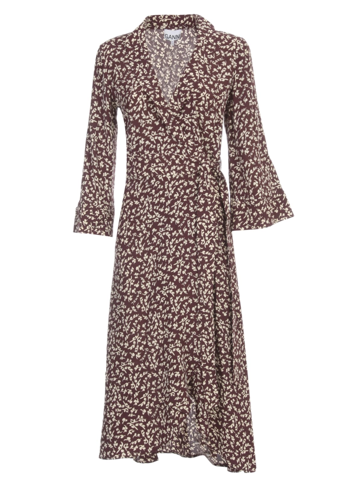 Buy Ganni Printed Crepe Dress L/s Fantasy online, shop Ganni with free shipping