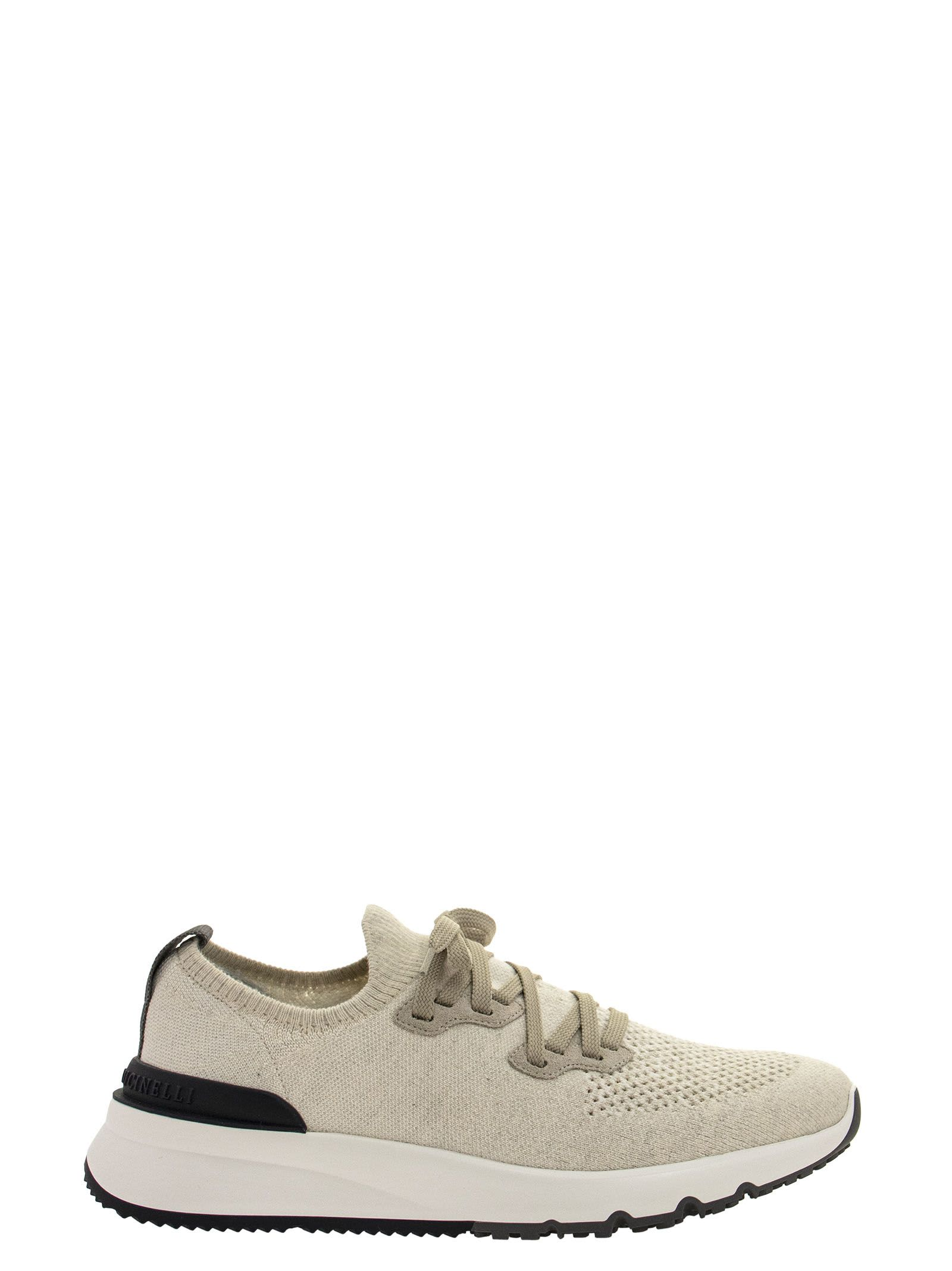 Brunello Cucinelli COTTON CHINÉ KNIT RUNNERS SNEAKERS PANAMA