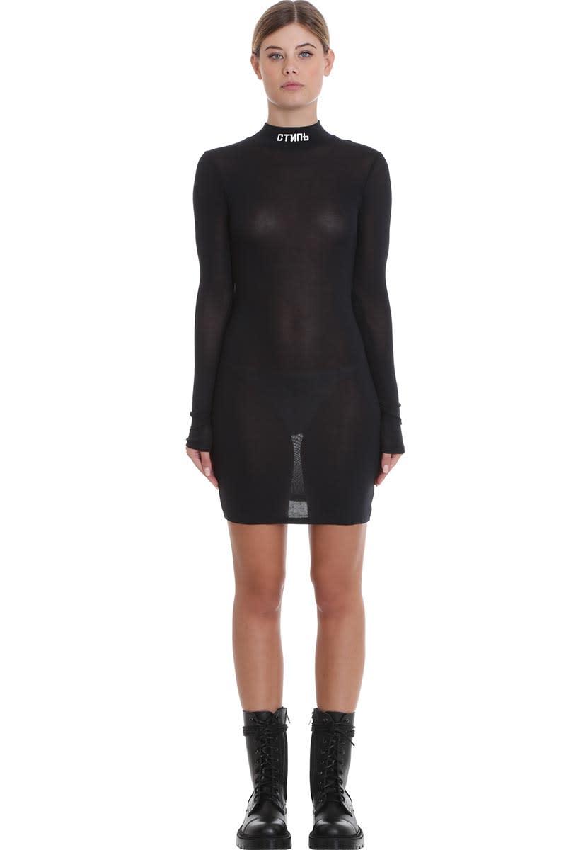 HERON PRESTON Turtleneck Dres Dress In Black Cotton