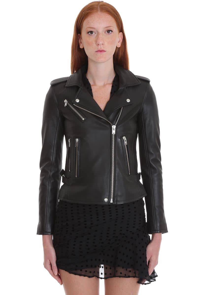 IRO Newhan Leather Jacket In Black Leather
