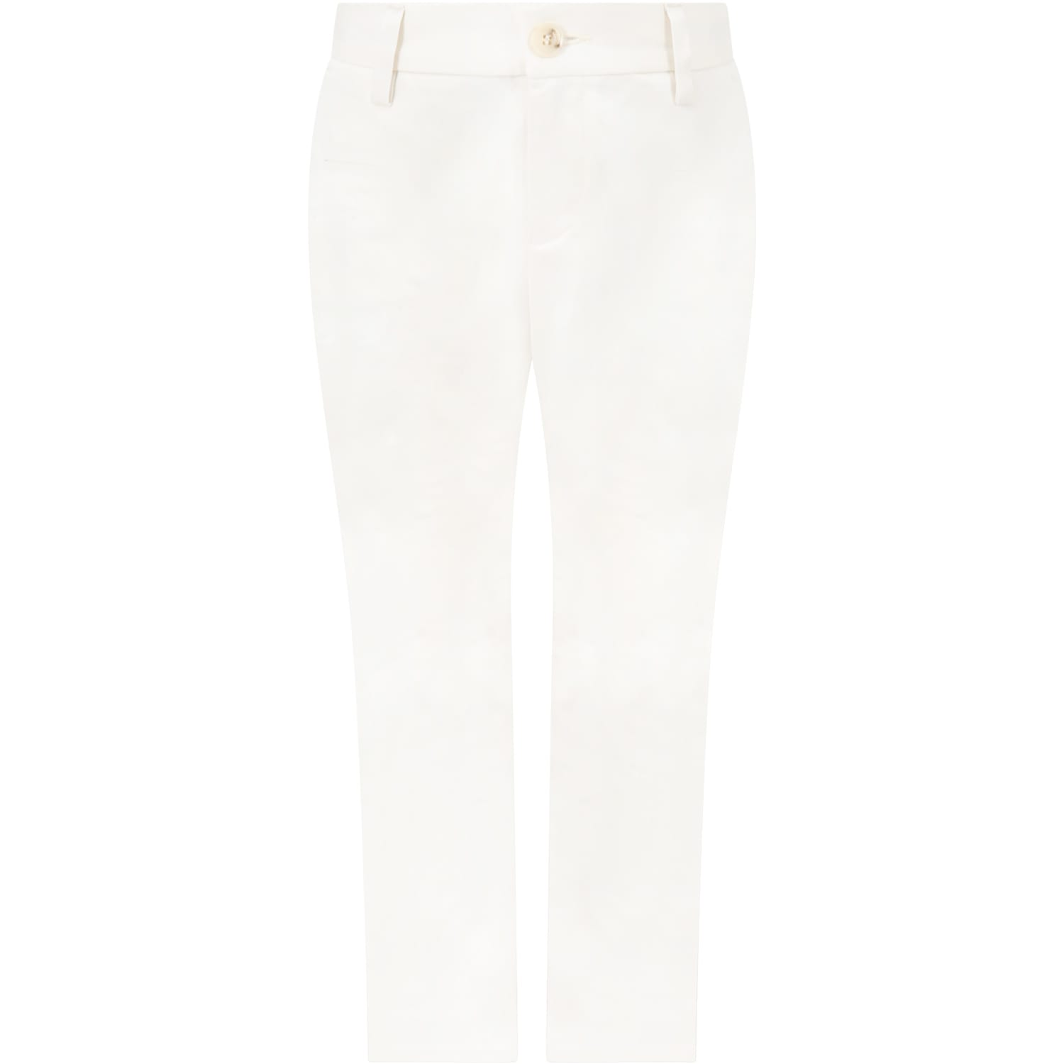 White Trouser For Boy With Iconic Eagle