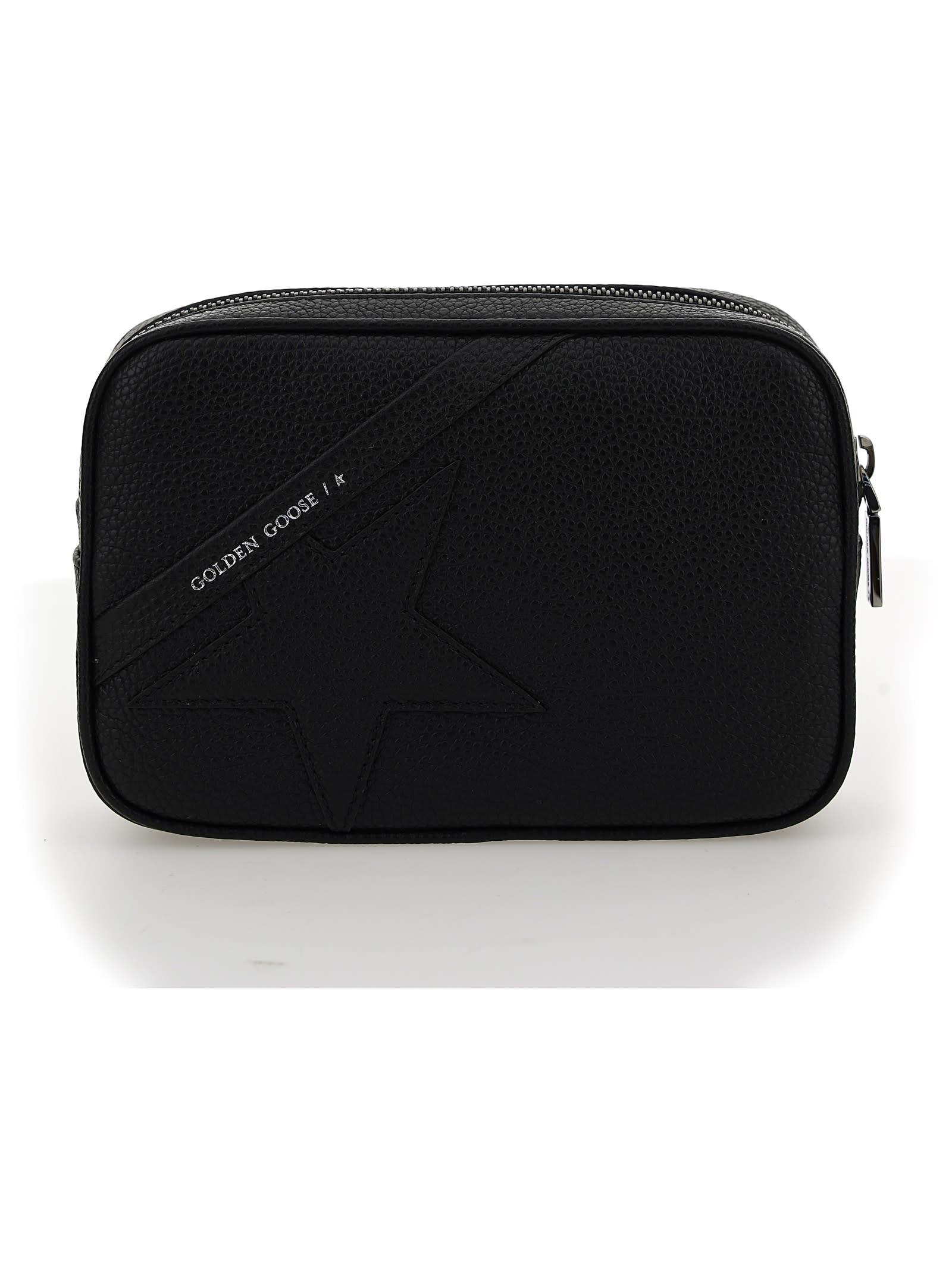 Black Leather Star Belt Bag by Golden Goose, brand logo on front, zip closure on top, adjustable and removable shoulder strap, brand logo inside. Composition: 100% Calf Leather Bos Taurus