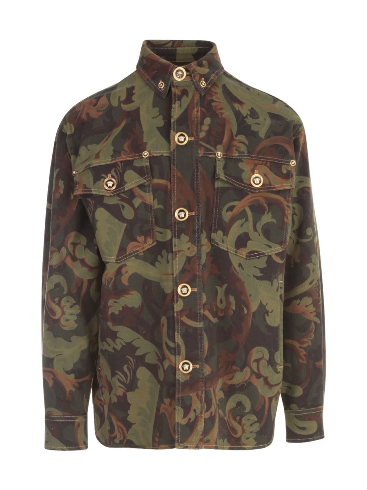 Versace Denim Military Baroque Printing L/s Shirt
