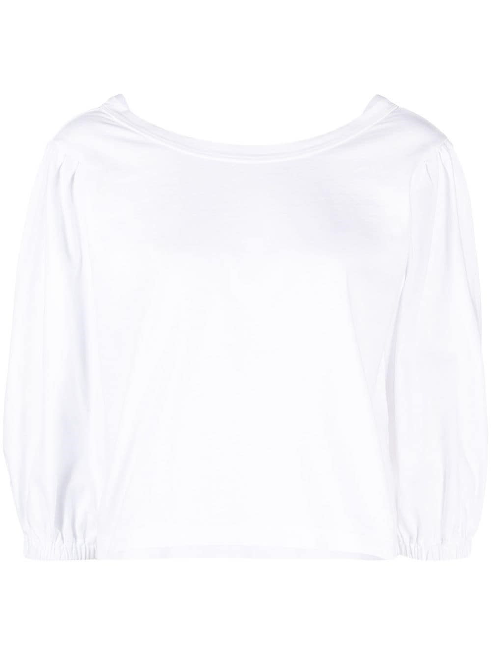Forte Forte WHITE JERSEY T-SHIRT WITH REAR V-NECK