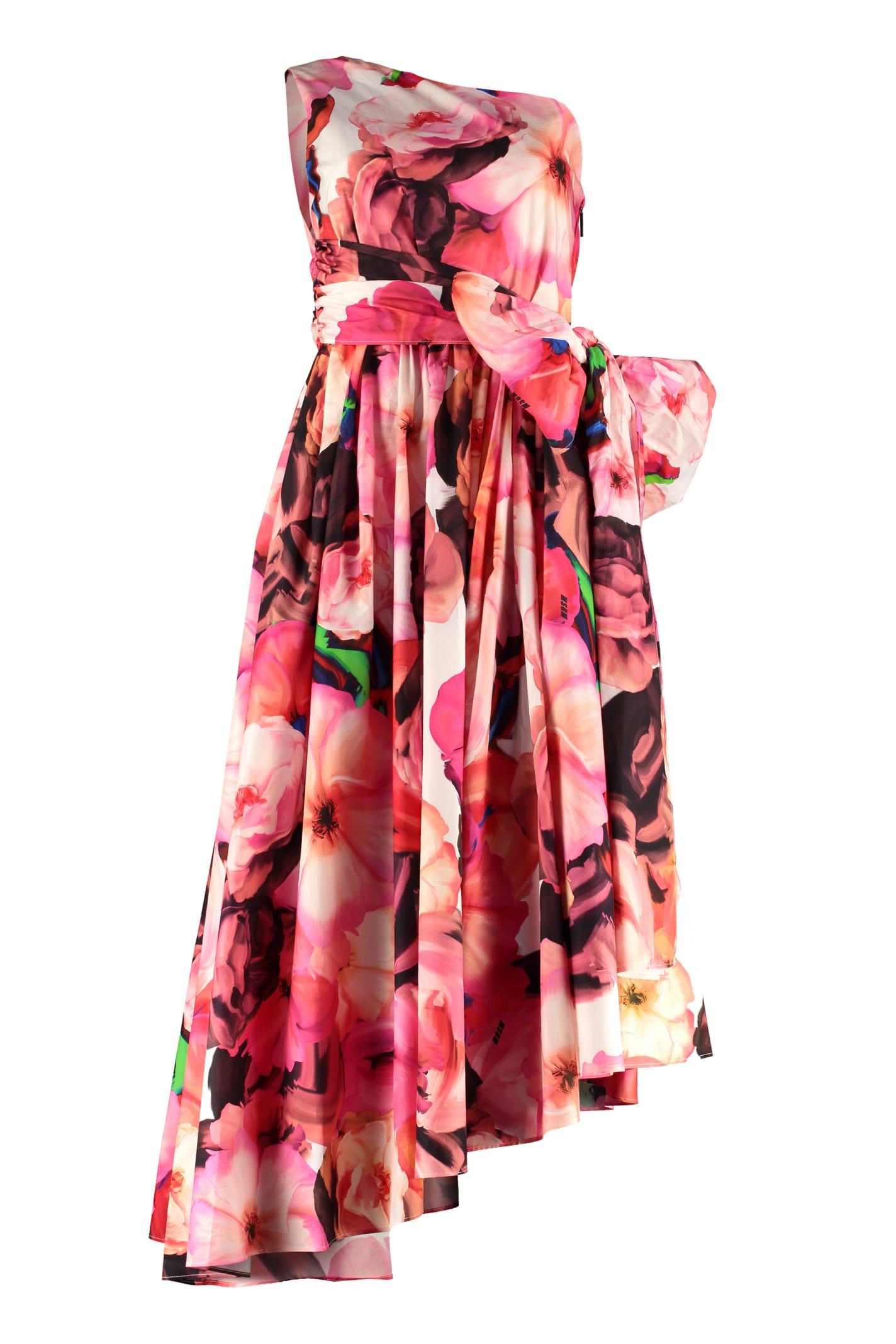 MSGM Printed Cotton One-shoulder Dress