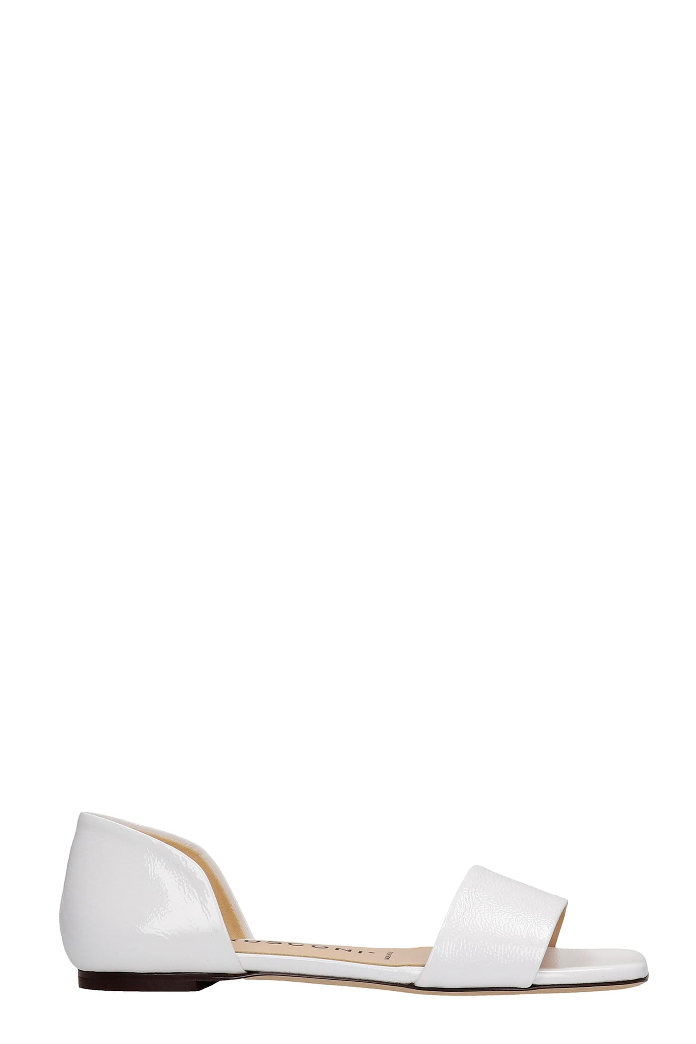 Flats In White Patent Leather