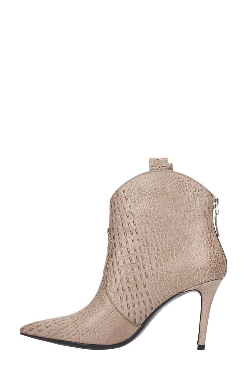 Lola Cruz Lola Cruz High Heels Ankle Boots In Taupe Leather