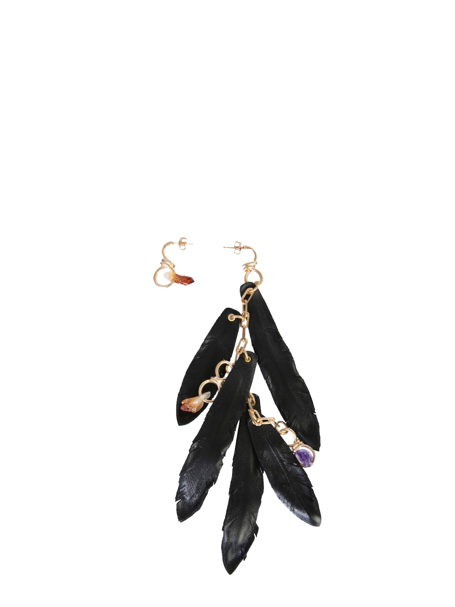 Dsquared2 EARRINGS WITH TALISMAN AND FEATHERS