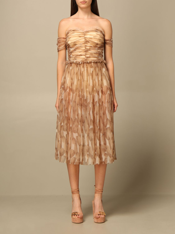 Elisabetta Franchi Dress Elisabetta Franchi Midi Dress In Printed Tulle