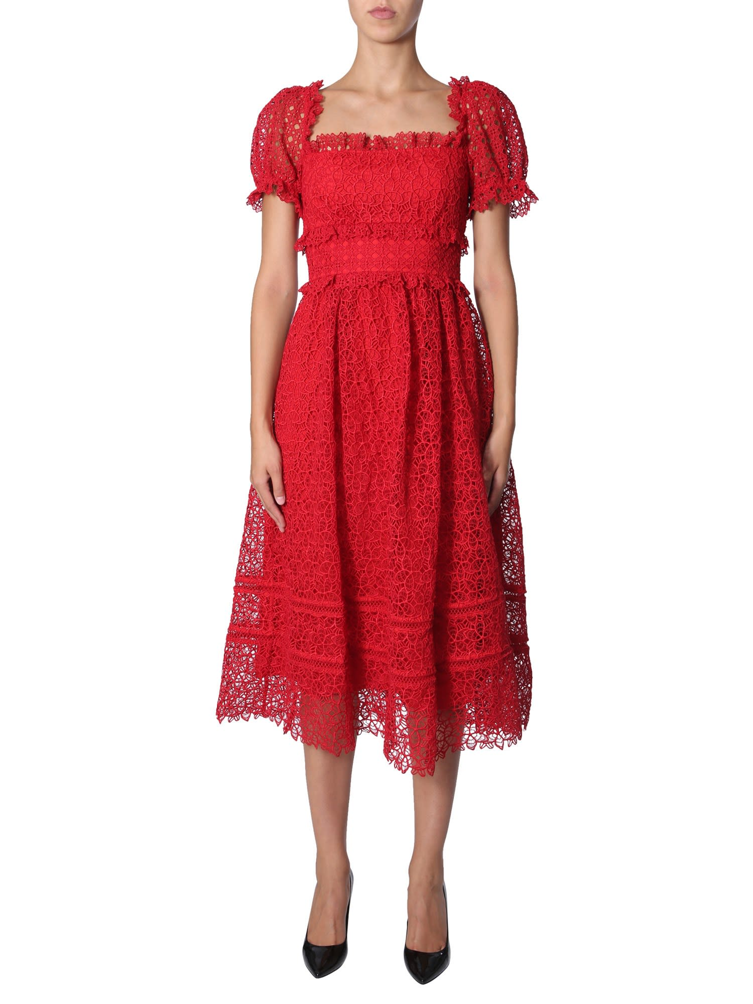 self-portrait Hibiscus Guipure Dress