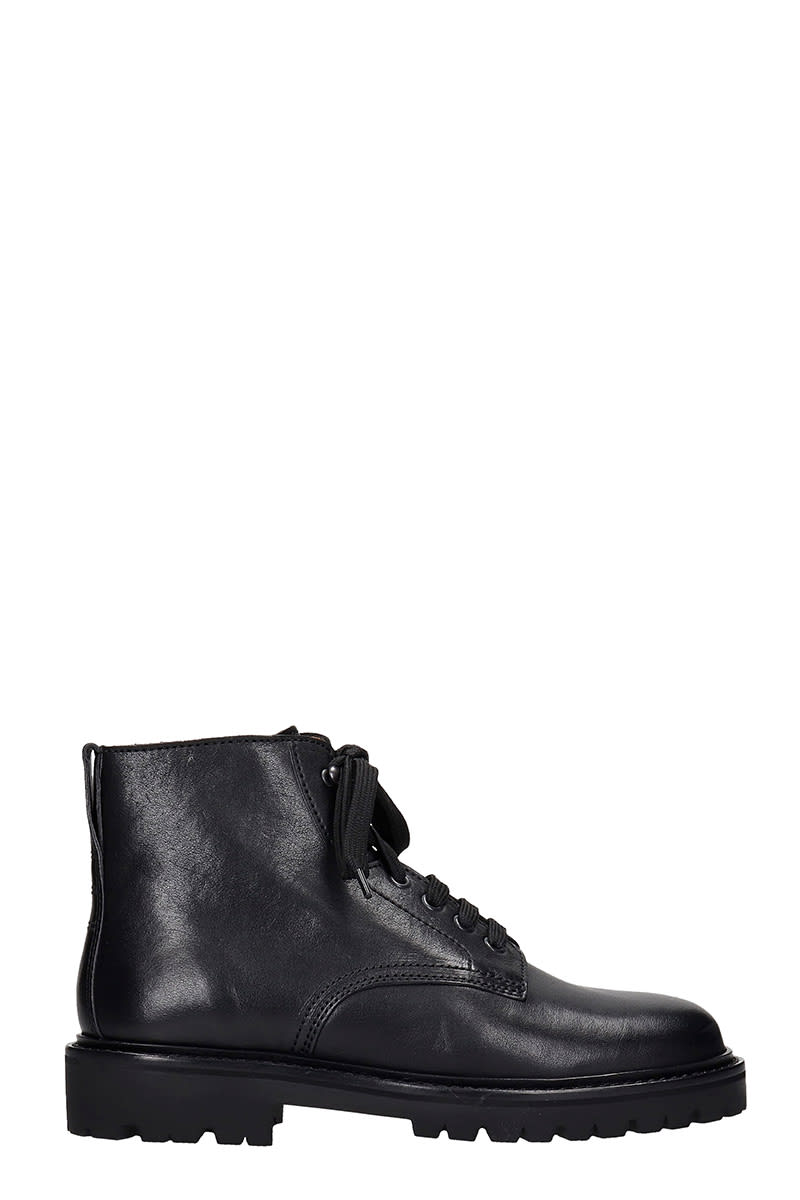 Isabel Marant CAMP ANKLE BOOTS IN BLACK LEATHER