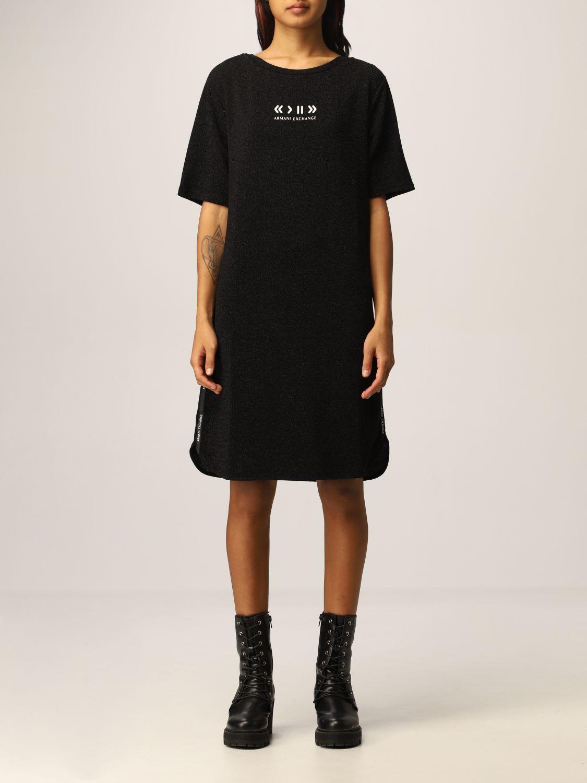 Armani Exchange Dress Half Sleeve Lurex Midi
