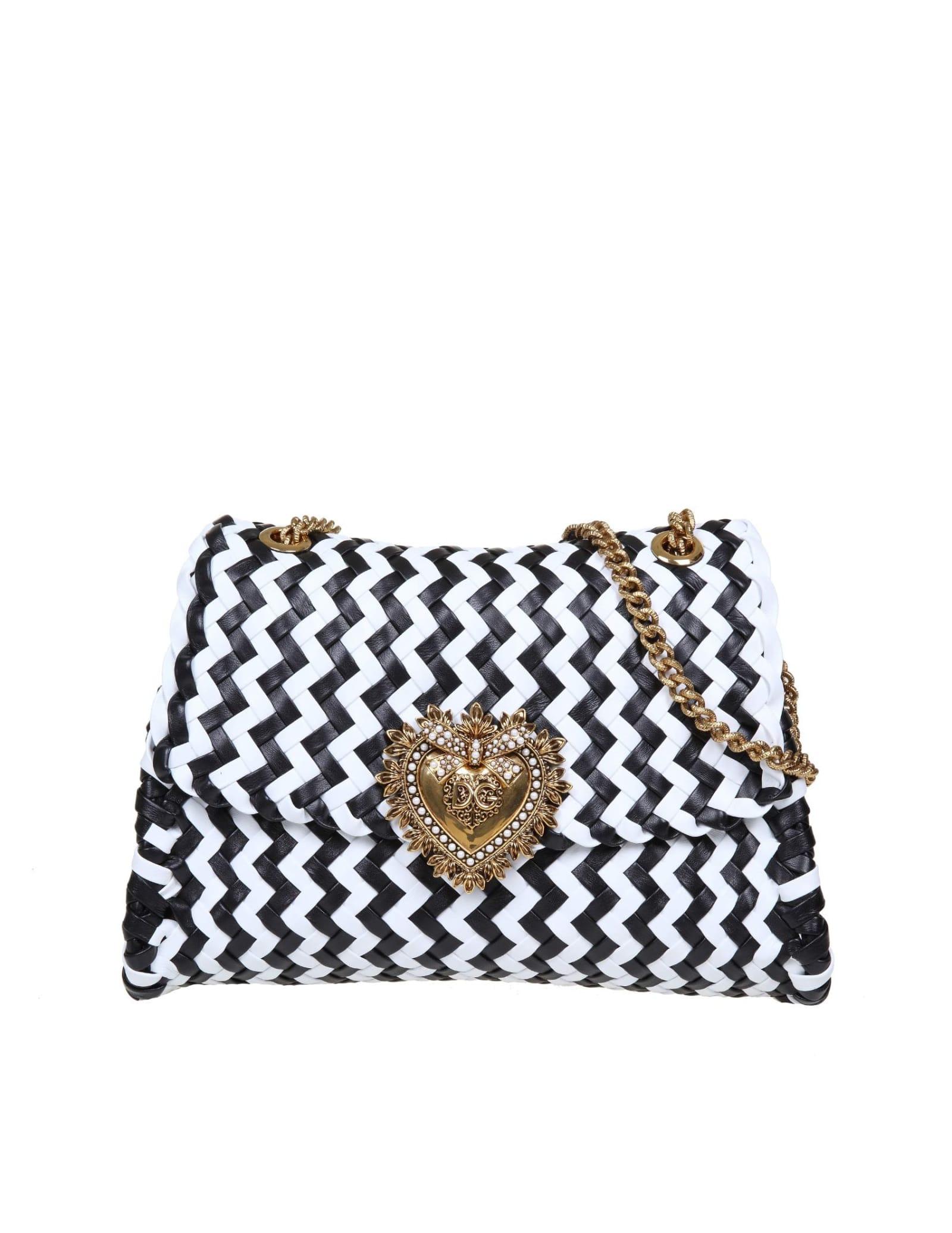 Dolce & Gabbana DEVOTION SHOULDER BAG IN WOVEN NAPPA