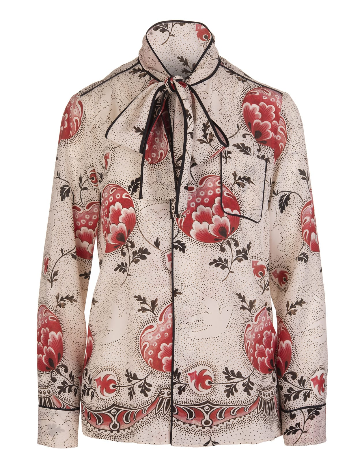 Bow Collar Flowers Blouse
