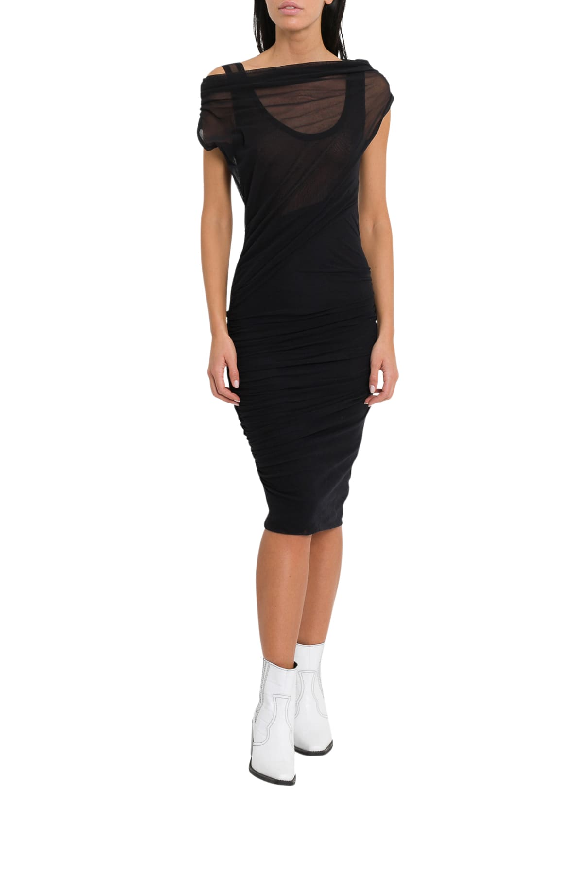MSGM Ruched Asymmetric Stretch-jersey Mini Dress With Sheer Effect