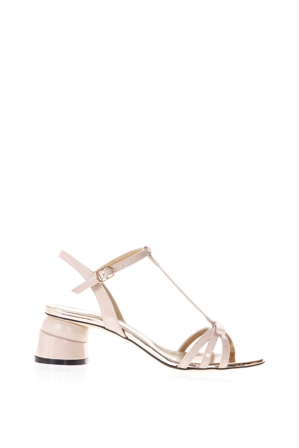 Marc Ellis Phard Patent Leather Sandals With Shaped Heel