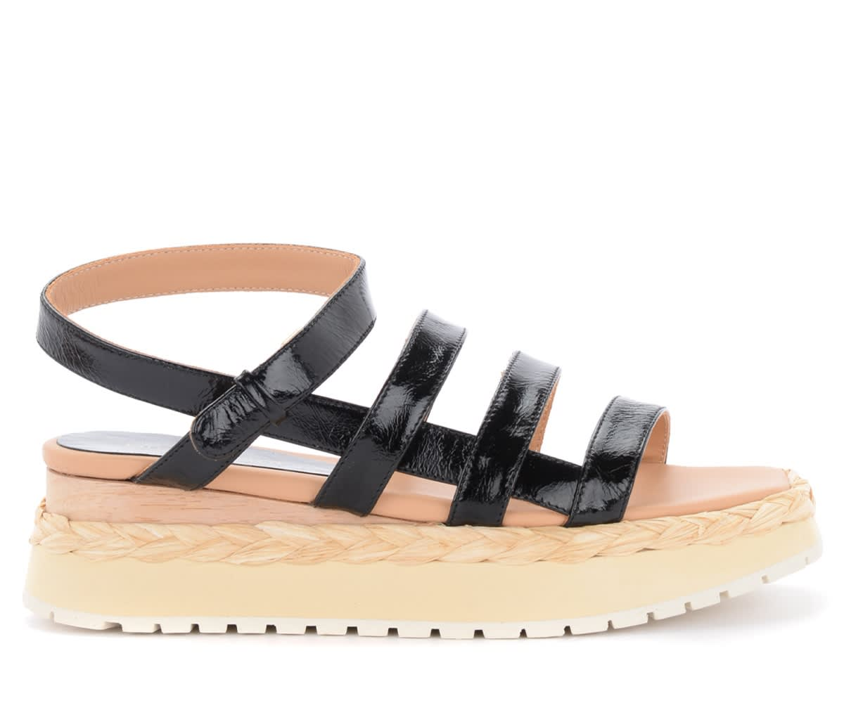 Paloma Barceló Leathers ABACAXIS SANDALS IN BLACK LEATHER