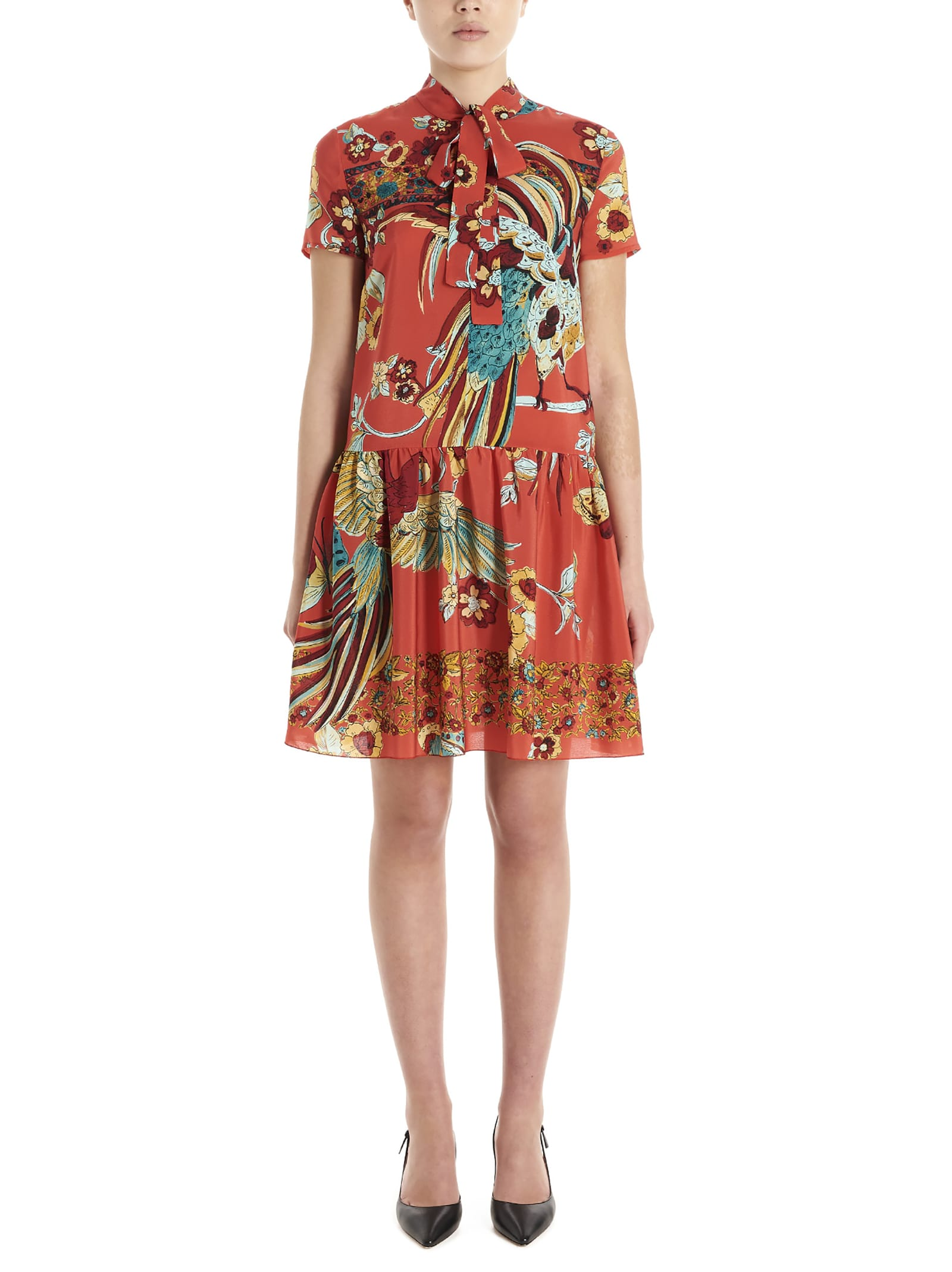 Buy Red Valentino bird Of Parad In Forest Dress online, shop RED Valentino with free shipping