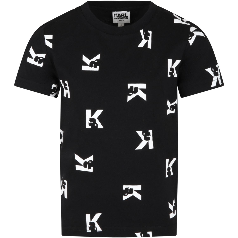 Black T-shirt For Kids With White Logo