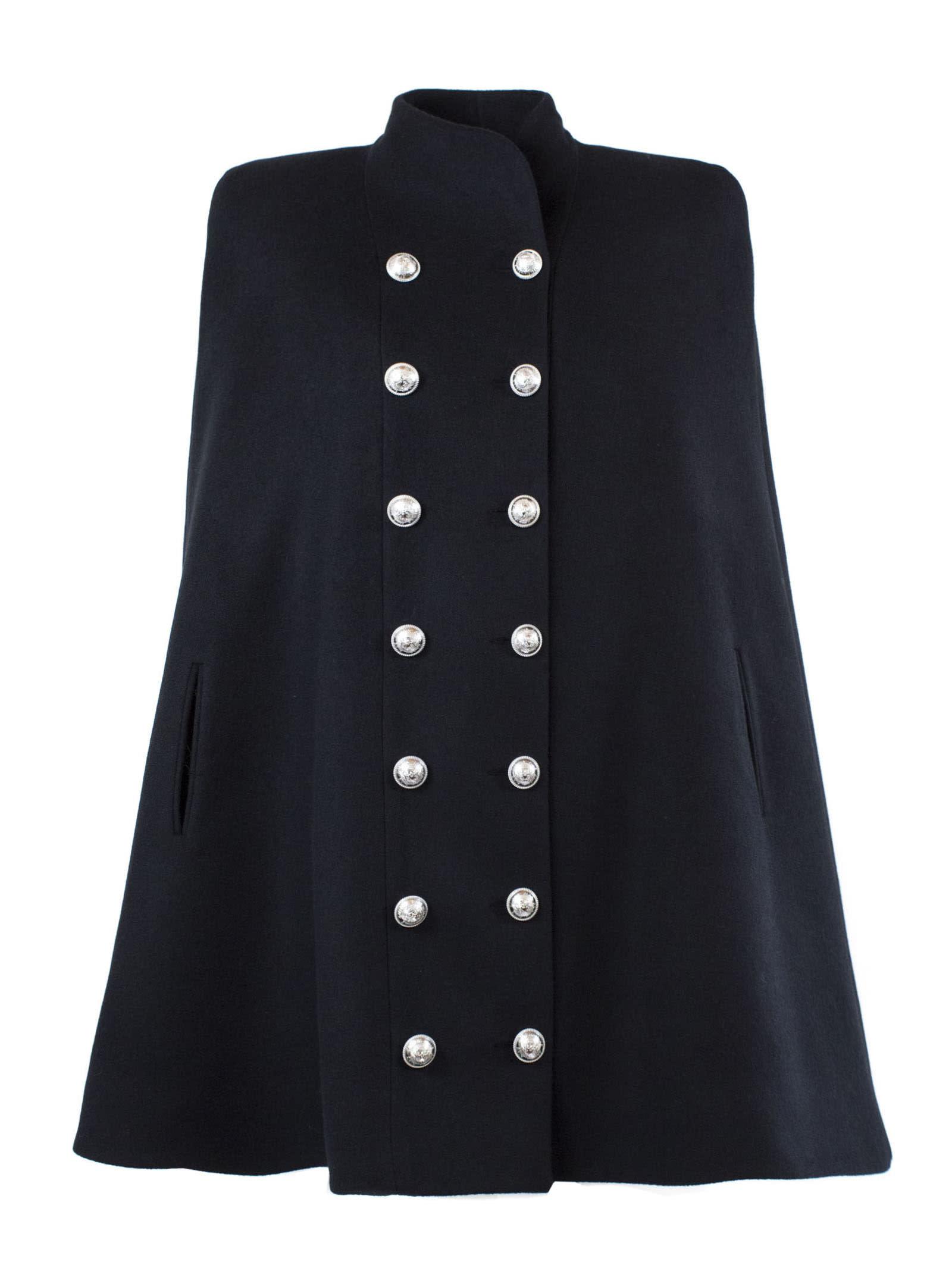 Balmain Black Wool Cape