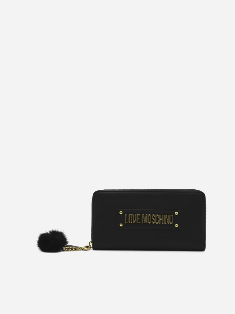 Love Moschino Wallet With Logo Lettering And Eco-fur Detail In Black