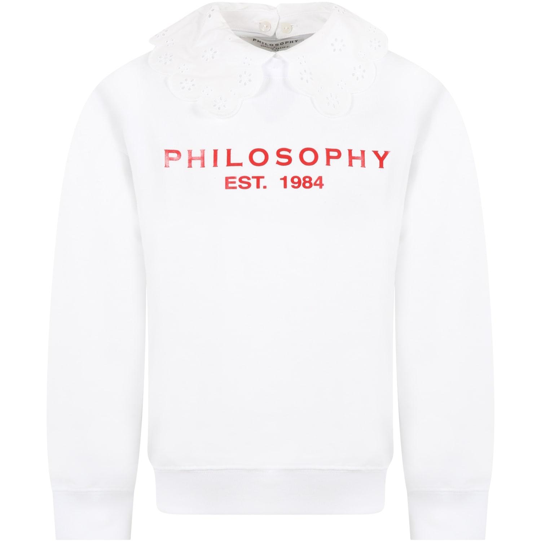 Philosophy Di Lorenzo Serafini Tops WHITE SWEATSHIRT FOR GIRL WIH RED LOGO