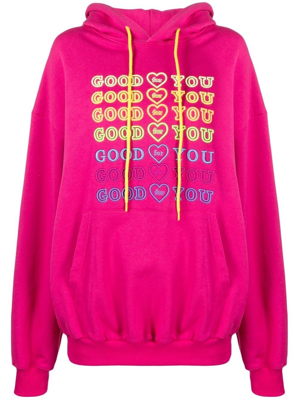 Ireneisgood Cottons GOODFY JERSEY HOODIE WITH MULTICOLOR EMBROIDERY