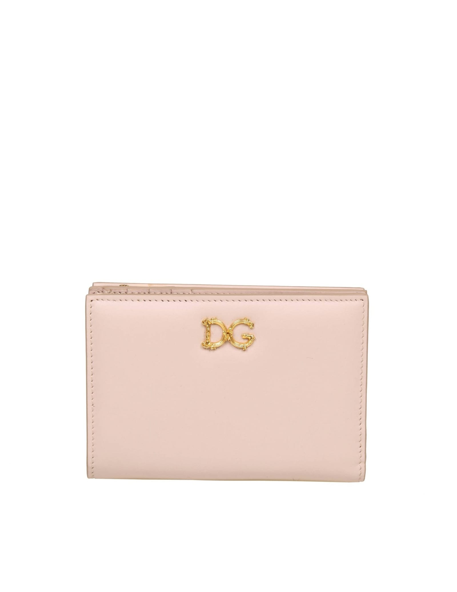 Dolce & Gabbana Small Wallet In Powder Color Leather