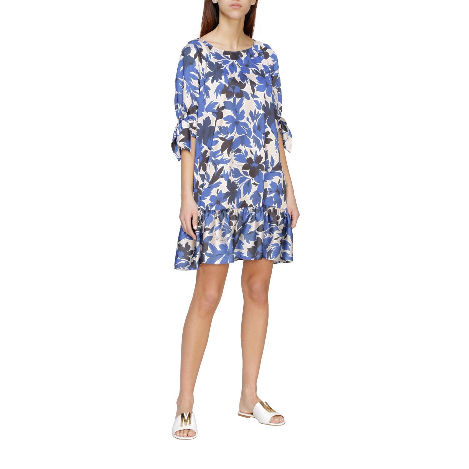Buy Boutique Moschino Dress Wide Moschino Boutique Crepe Dress With Floral Print online, shop Boutique Moschino with free shipping