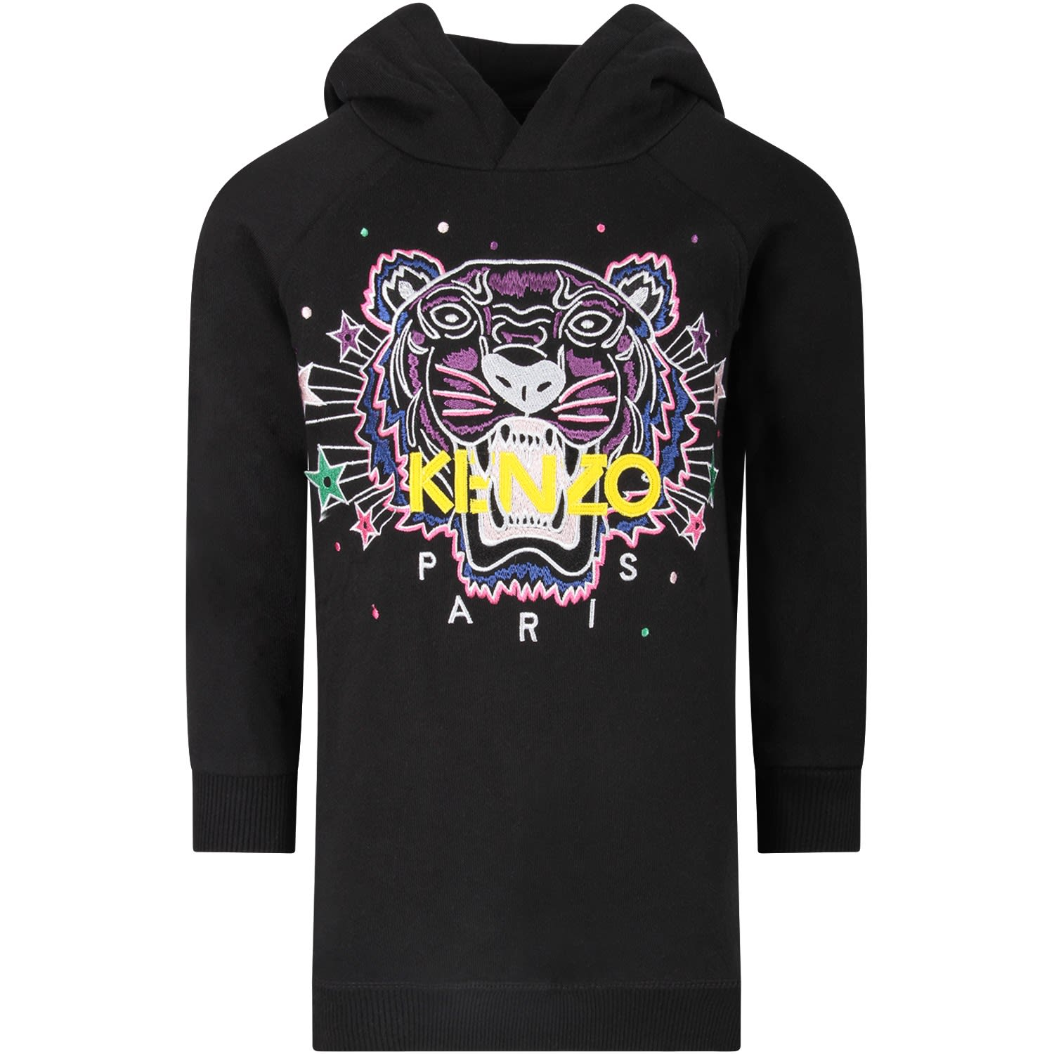 Kenzo Kids Black Girl Dress With Iconic Tiger And Yellow Logo