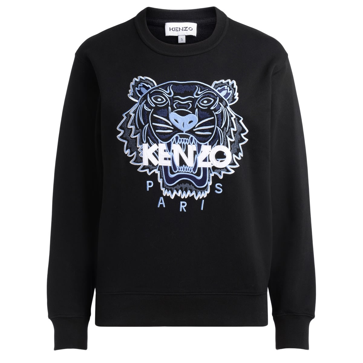 Black Womens Kenzo Tiger Sweatshirt With Light Blue Tiger