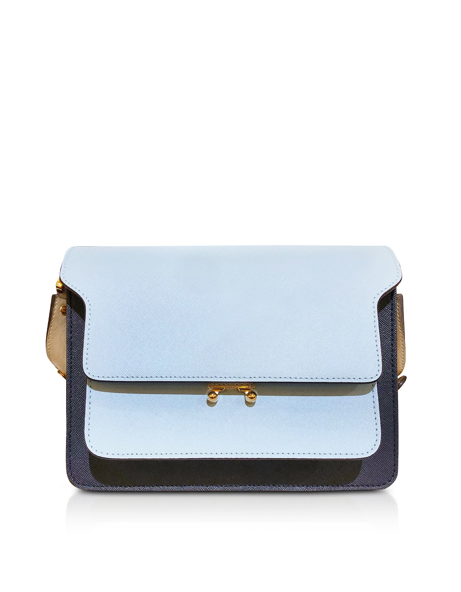 Marni COLOR BLOCK POWDER AND NAVY BLUE SAFFIANO LEATHER TRUNK BAG