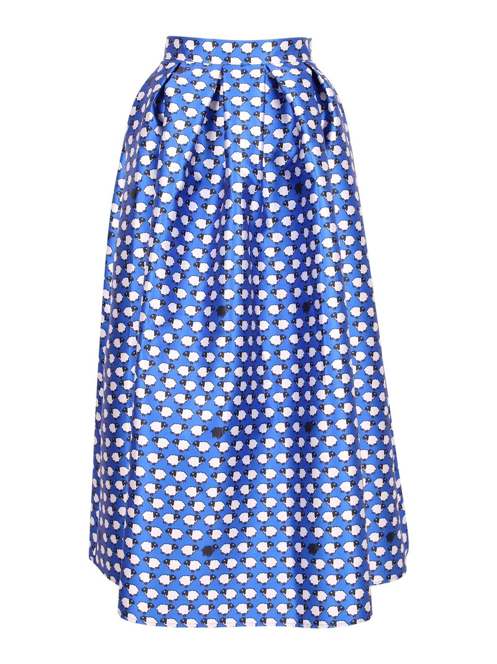 Alessandro Enriquez Sheep Long Skirt In Blue