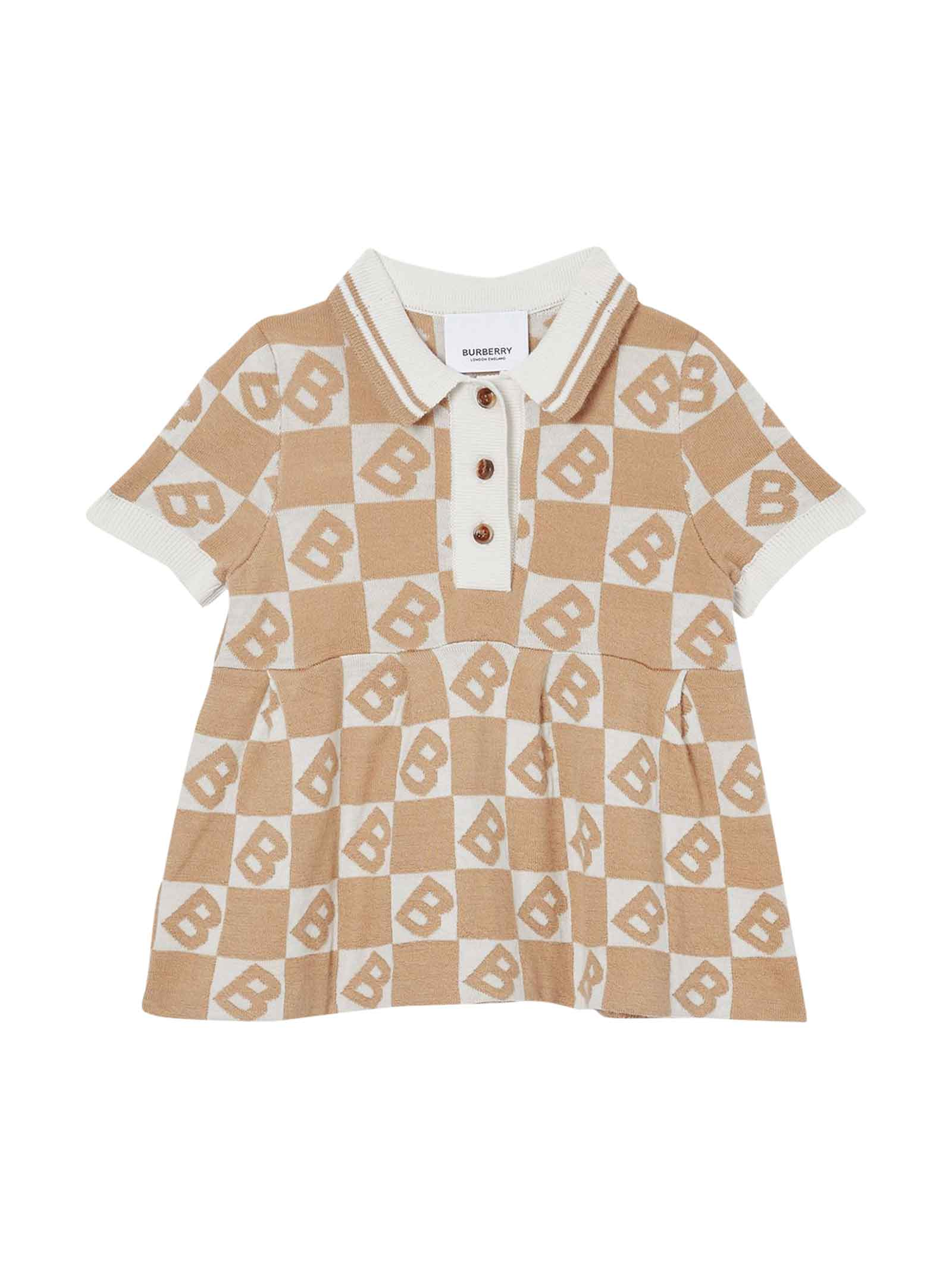 Buy Burberry Baby Light Brown Dress online, shop Burberry with free shipping